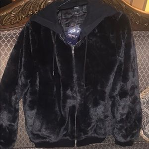 Forever 21 bomber faux fur with detachable hood